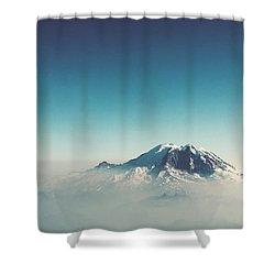 An Aerial View Of Mount Rainier Shower Curtain