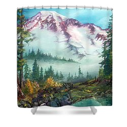 Shower Curtain featuring the painting Mount Rainier by Sherry Shipley