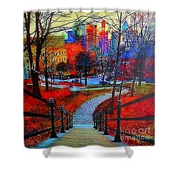 Shower Curtain featuring the painting Mount Royal Peel's Exit by Marie-Line Vasseur