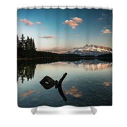 Mount Rundle And Two Jack Lake Shower Curtain