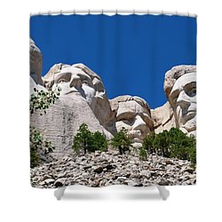 Mount Rushmore Close Up View Shower Curtain