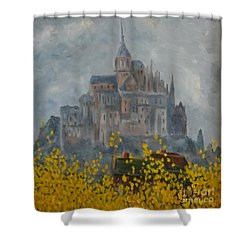 Shower Curtain featuring the painting Mount Saint Michael by Rod Ismay