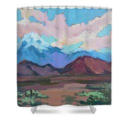 Shower Curtain featuring the painting Mount San Gorgonio by Diane McClary