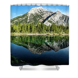 Mount Skogan Reflected In Mount Lorette Ponds, Bow Valley Provin Shower Curtain