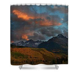 Mount Sneffels Sunset During Autumn In Colorado Shower Curtain