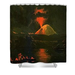 Mount St Helens Erupting At Night Shower Curtain