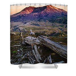 Mount St. Helens Sunset Shower Curtain by Greg Vaughn - Printscapes