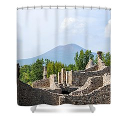 Mount Vesuvius Beyond The Ruins Of Pompei Shower Curtain by Allan Levin