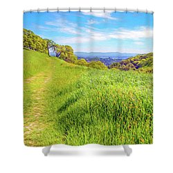 Mount Wanda Digital Watercolor Shower Curtain