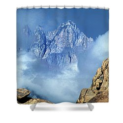 Shower Curtain featuring the photograph Mount Whitney Clearing Storm Eastern Sierras California by Dave Welling