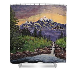Mountain And Waterfall 2 Shower Curtain