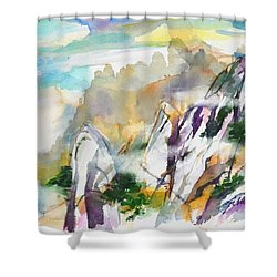 Mountain Awe #2 Shower Curtain by Betty M M Wong