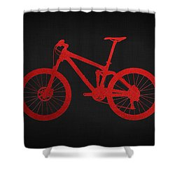 Mountain Bike - Red On Black Shower Curtain by Serge Averbukh