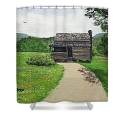 Shower Curtain featuring the painting Mountain Cabin by Jimmie Bartlett