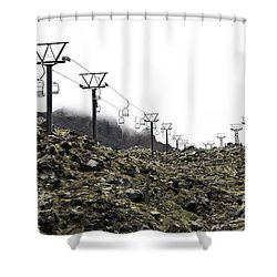 Mountain Cable Road Waiting For Snow. Mount Ruapehu. New Zealand Shower Curtain