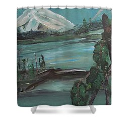 Mountain Cat Shower Curtain