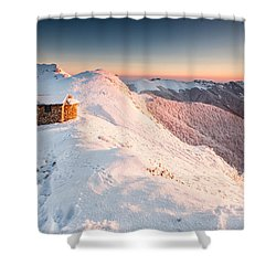Mountain Chapel Shower Curtain by Evgeni Dinev