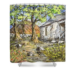 Mountain Cottage Shower Curtain by Marty Garland