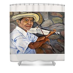 Mountain Fiddler Shower Curtain by Marilyn McNish