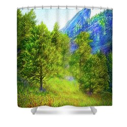 Mountain Field Springtime Shower Curtain