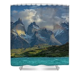 Mountain Glimmer Shower Curtain by Andrew Matwijec