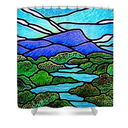 Shower Curtain featuring the painting Mountain Glory by Jim Harris