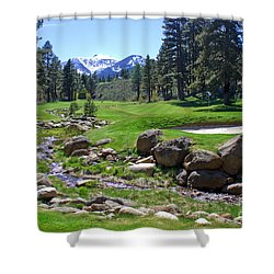 Mountain Golf Course Shower Curtain by Thomas Marchessault