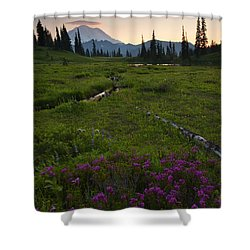 Mountain Heather Sunset Shower Curtain by Mike  Dawson