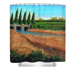 Mountain House In The Fall Shower Curtain