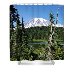 Mountain Lake And Mount Rainier Shower Curtain
