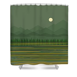 Shower Curtain featuring the digital art Mountain Lake Moon by Val Arie