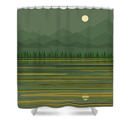 Shower Curtain featuring the digital art Mountain Lake Moonrise by Val Arie
