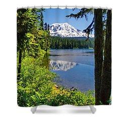 Mountain Lake Reflections Shower Curtain