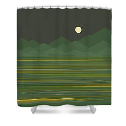 Mountain Lake Shower Curtain by Val Arie