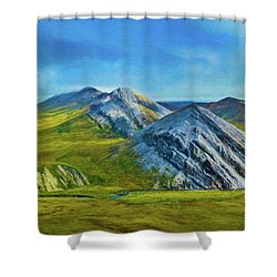 Mountain Landscape Digital Art Shower Curtain