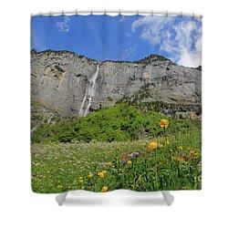Mountain Landscape, Spring, Switzerland Shower Curtain