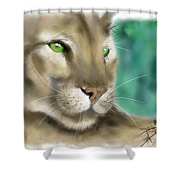 Shower Curtain featuring the digital art Mountain Lion by Darren Cannell