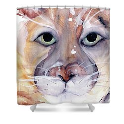 Shower Curtain featuring the painting Mountain Lion by Dawn Derman