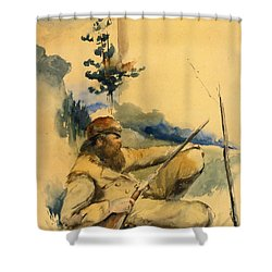 Shower Curtain featuring the drawing Mountain Man by Charles Schreyvogel