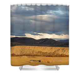 Shower Curtain featuring the photograph Mountain Meadow And Hay Bales In Grand County by Carol M Highsmith