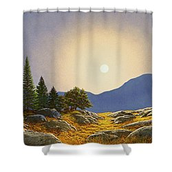 Mountain Meadow In Moonlight Shower Curtain