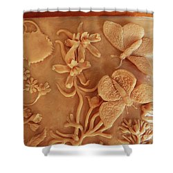 Mountain Meadow Original Clay Relief - Checkerspot Butterfly Detail Shower Curtain by Dawn Senior-Trask