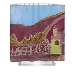 Mountain Mission Shower Curtain by Don Koester