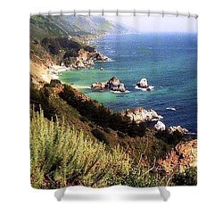 Mountain On Calif Pacific Ocean Shower Curtain by Ted Pollard