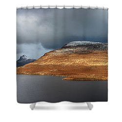Mountain Pano From Knockan Crag Shower Curtain by Grant Glendinning