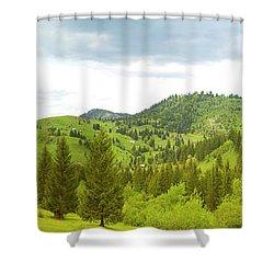 Mountain Panorama In Bucovina County - Romania Shower Curtain
