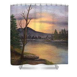 Mountain Paradise Shower Curtain by Sheri Keith