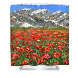Mountain Poppies   Shower Curtain by Dmitry Spiros