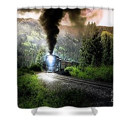Mountain Railway - Morning Whistle Shower Curtain by Robert Frederick