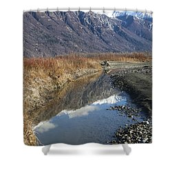 Mountain Reflections In Fall Shower Curtain by Michele Cornelius